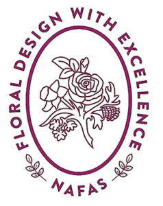 "This image is the logo for NAFAS. It is in purple with the text ""Floral Design with Excellence around an oval circke with a rose and daffodil in the centre."