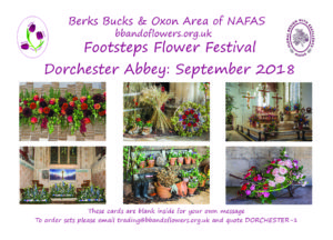This poster advertises cards that can be purchased which are photographs of the Footsteps Flower Festival which was held at Dorchester Abbey in September 2018.